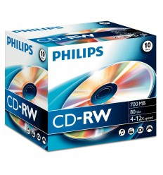 Philips 1x10 Cd-rw 80min 700mb 4-12x Jc